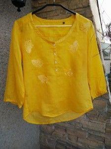 bluza galbena Optimism, Embroidery, Tops, Fashion, Moda, Needlepoint, Fashion Styles, Fashion Illustrations, Crewel Embroidery