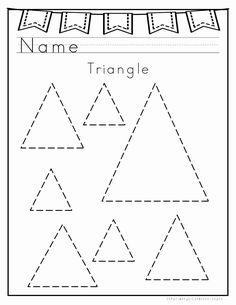 Handwriting Readiness: Activities for preparing kids for writing the alphabet.FREE WRITING WORKSHEETS. Here is free and printable triangle worksheet for kindergarten, preschool and first grade.Kids will recognise the shape of a triangle and practice it by tracing. Shape Worksheets For Preschool, Shape Tracing Worksheets, Shapes Worksheet Kindergarten, Geometry Worksheets, Free Preschool, Preschool Printables, Graphing Worksheets, Toddler Worksheets, Coloring Worksheets