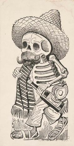José Guadalupe Posada (Mexican, 1851-1913)      La Calavera de Madero  January 27, 2017 12:00PM Description:  José Guadalupe Posada (Mexican, 1851-1913)   La Calavera de Madero, 1910 1910. Signed within the matrix. Metal relief print on paper, image size 11 7/8 x 5 1/4 in. (30.0 x 13.0 cm), unmatted, unframed but glazed.  Condition: Pale staining near upper edge, not removed from glazing.  Provenance: The estate of Irving Penn, New York.  Estimate $500-700