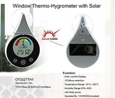 Solar Power Window Thermometer & Hygrometer by TechTools