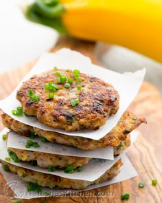 Chicken Zucchini Patties...I know, sound wierd, but these are delicious!!! Tender and flavourful.