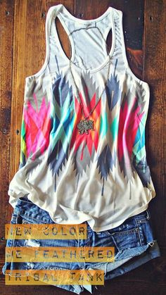 Color Me Feathered Tribal Tank