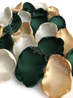 Emerald Green Ivory Gold Mix of Flower Petals Rose Petals | Etsy