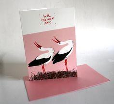 Geburtsanzeige, Geburtskarte, Geburt, Baby, Storchennest, rosa, Karte mit Umschlag von stuudio auf Etsy