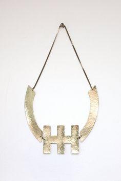 Spine Hammered Brass Necklace