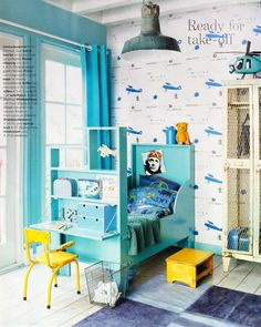 gorgeous blue + yellow children's room for a little bok
