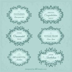 Colecction of vintage floral frame Free Vector