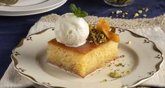 Greek semolina cake – Revani by the Greek chef Akis Petretzikis. An easy recipe for a syrupy cake with semolina and orange! Serve with ice cream! Greek Desserts, Greek Recipes, Raw Food Recipes, Semolina Cake, Pistachio Ice Cream, Processed Sugar, Good Fats, Cheesecake, Food And Drink