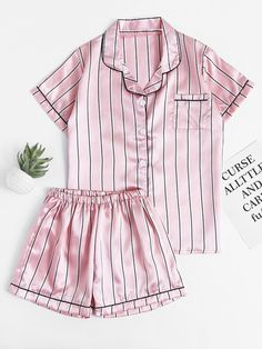SheIn offers Pinstripe Revere Collar Satin Pajama Set & more to fit your fashionable needs. Cute Sleepwear, Sleepwear Women, Loungewear, Satin Sleepwear, Satin Pyjama Set, Satin Pajamas, Pajama Set, Cute Pjs, Cute Pajamas