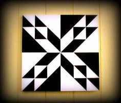 Mini Barn Quilt Black & White Home Decor Patch by MiniBarnQuilts- this I LOVE !