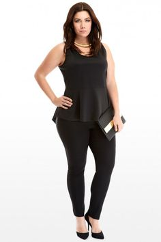 Plus Size Techno High Low Peplum Top | Fashion To Figure #PlusSizeClothing #PlusSizeFashion