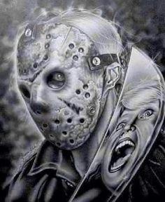 Horror Movies - Horror Decor - Horror Art - Friday the Jason Voorhees Arte Horror, Horror Art, Horror Decor, Horror Movie Characters, Horror Movies, Tattoo Studio, Theme Tattoo, Horror Icons, Desenho Tattoo