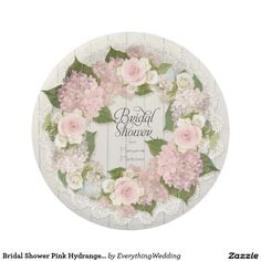 Bridal Shower Pink Hydrangea Roses Lace Wood Fence Paper Plate A warm, country rustic yet elegant and beautiful bridal shower decor design that has a personalization template to customize for your special bride. Matching invitations, rsvps, and table top decor items that can be personalized. This exquisitely beautiful spring floral wreath image was hand painted by Audrey Jeanne Roberts. It features barely pink hybrid roses with miniature roses in soft cream white and grey green mint…