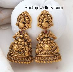 Antique Gold Peacock Jhumkis photo