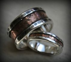rustic wedding ring set fine silver and copper von MaggiDesigns