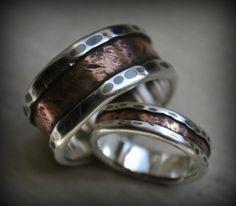rustic wedding ring set  fine silver and copper  von MaggiDesigns
