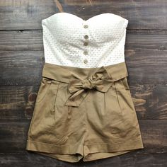 summer strapless romper  in tan women's spring summer clothing playsuit playsuits rompers southern sweet country boho bohemian fashion