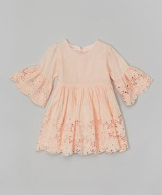 Another great find on #zulily! Peach Floral Lace Babydoll Dress - Infant, Toddler & Girls by Blossom Couture #zulilyfinds