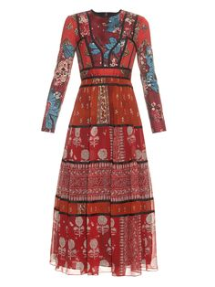 Patchwork long-sleeved silk dress | Burberry Prorsum | MATCHESFASHION.COM US