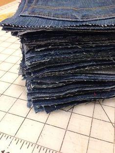 "Jeans picnic blanket, 6.5"" squares, shower curtain liner as back."