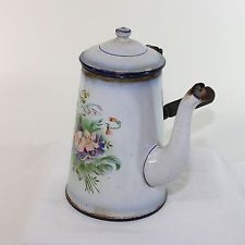 Vintage French enamel ware, granite ware chocolate pot with wooden handle B