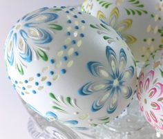 Carved and Wax Embossed Set of 3 Pysanky Eggs Easter by EggstrArt
