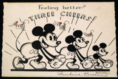Vintage Disney 1930s Hall Greeting Card Mickey Mouse Feeling Better