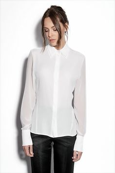 double collar white shirt