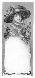 Antique Images: Free Vintage Advertising Clip Art: Vintage Graphic Design of Label with Edwardian Style Woman