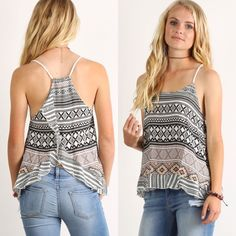 🌷 Ruffled Tulip Back Top 🌷 Tribal pattern print, sleeveless, loose fit top with racerback detail and ruffled tulip back 🔹100% RAYON Boutique Tops Tank Tops