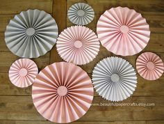 set of 8 pink and gray chevron rosettes paper fans pinwheel backdrop decor