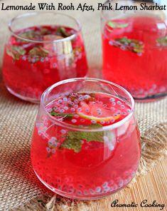 Lemonade With Rooh Afza, Rooh Afza Lemon Sharbat, Pink Lemon Sharbat Recipe Cocktails For Parties, Summer Drinks, Fun Drinks, Healthy Drinks, Beverages, Cold Drinks, Pink Cocktails, Healthy Juices, Refreshing Drinks