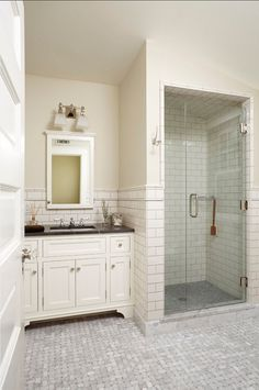 Classic white bathroom ideas exciting small white bathrooms with shower classic white subway tile bathroom small white tiles in classic bathroom love this Classic White Bathrooms, Classic Bathroom, Traditional Bathroom, Small White Bathrooms, White Subway Tile Bathroom, Tile Bathroom, Farmhouse Master Bathroom, Farmhouse Shower, White Bathroom