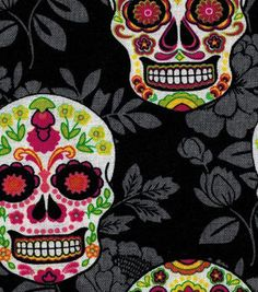 Novelty Cotton Fabric-Decorative Skulls On Black Floral