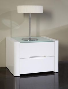 Opus, Modern Bedside Cabinets In High Gloss White, Mocha Or Silver Finish,  Glass Top