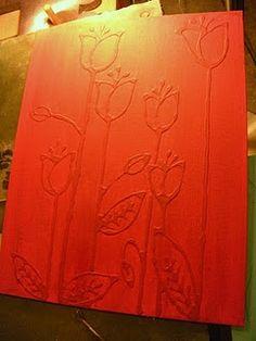 Dibuja un diseño sobre un lienzo con un lápiz, y luego con el pegamento de Elmer. Cuando el pegamento esté seco, pintar sobre ella.  Draw a design on a canvas with a pencil, then with Elmer's glue. When the glue is dry, paint over it.