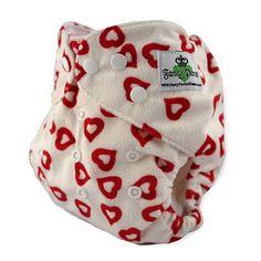 Fancy Pants Red Open Hearts Minky Cloth Diaper