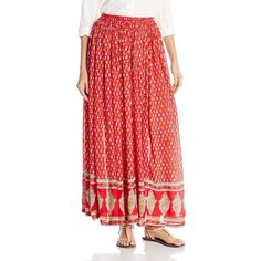 Raga Women's Love Child Maxi Skirt ($22) ❤ liked on Polyvore featuring skirts, long skirts, long red skirt, ankle length skirt, elastic waist maxi skirt and red skirt