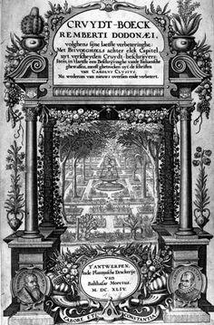 Titelpagina Rembert Dodoens Cruydt-Boeck 1644. In 2e deel vd 16de eeuw waren de Zuidelijke Nederlanden het centrum van botanisch en biomedisch onderzoek. Na 1e druk 'Cruijdeboeck' in 1554 werden steeds meer planten onderzocht op medische eigenschappen. Vooral Matthias Lobelius (M. de l'Obel, 1538-1616) en Carolus Clusius (Charles de l'Escluse, 1526-1609) gingen in navolging van Dodoneus een systematische ordening van planten gebruiken, gebaseerd op morfologische kenmerken & medisch gebruik.