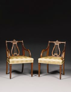 A PAIR OF GEORGE III GILT-LACQUERED BRASS-MOUNTED MAHOGANY ARMCHAIRS CIRCA 1770, ATTRIBUTED TO JOHN LINNELL Estimate     30,316 - 60,632USD  LOT SOLD. 37,895 USD