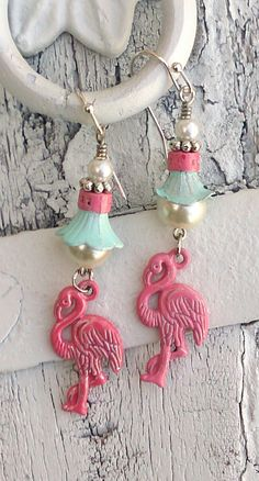 Mint and Pink Flamingo Pearl Earrings Beach Jewelry by Secret Stash Boutique on Etsy