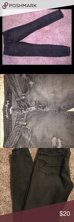 American eagle size 10 distressed black jeans American eagle size 10 distressed black jeans, like new condition American Eagle Outfitters Jeans Skinny