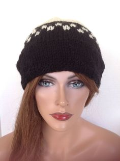 Beanie Hat Slouch Hand Knit Checkered Black White Designer Fashion Hp Chic Boho Classic Slick Snow Ski Snowboarding Stylish Winter Fall by HANDKNITS2LOVE on Etsy