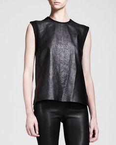 Snake-Print Leather Combo Tank by Helmut Lang at Neiman Marcus.