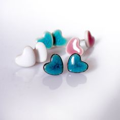 Cute studs Ceramic stud earrings Heart earrings Turquoise Dark / Light turquoise White 10mm Sterling silver post ceramic earring clay studs