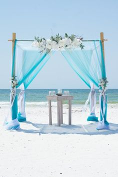 Tiffany blue turquoise and white beach wedding