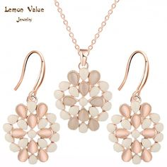 Lemon Value Romantic Luxury Flower Earrings Trendy Charms Rhinestone Collar Crystal Opal Pendant Necklace Women Jewelry Set A158