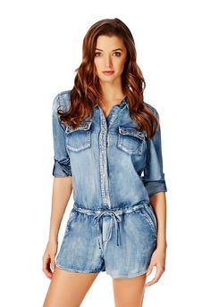 An all-in-one that makes Western look cool, the chambray shirt jumpsuit has a classic collar, front pockets, drawstring waist and side pockets. l JustFab