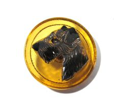Czech Terrier Button Hand Painted Amber Glass Czech Glass Button One (1) Czech Glass Dog Terrier Vintage Button Jewelry Supplies (J202) by punksrus on Etsy
