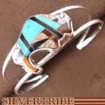 Turquoise Tiger Eye and Multicolor Inlay Authentic Sterling Silver Buffalo Bracelet